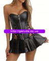 Leather corset with dress